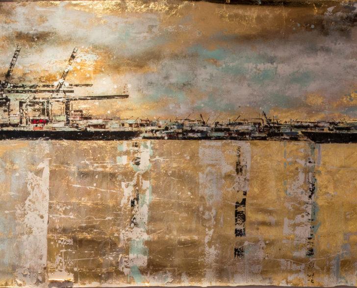 6 Meter Hafen auf Blattgold, 600 cm x 100 cm