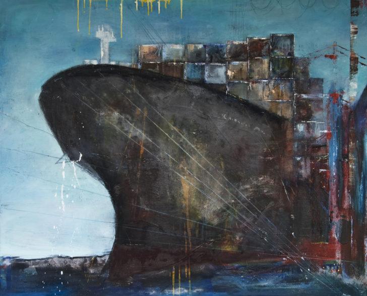 Containerschiff 140 cm x 140 cm