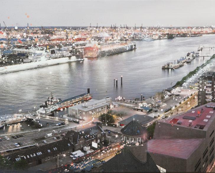 Hafen von oben 160 cm x 120 cm