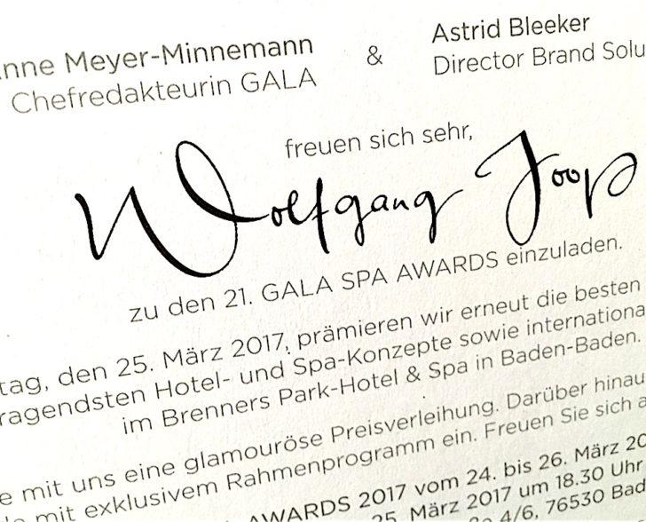 Einladung Gala Spa Award