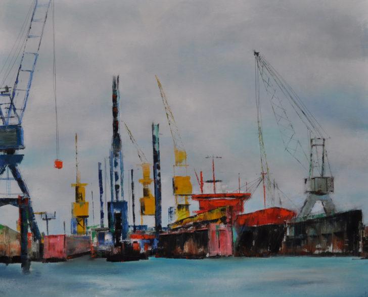 Im Hafen 90 cm x 70 cm