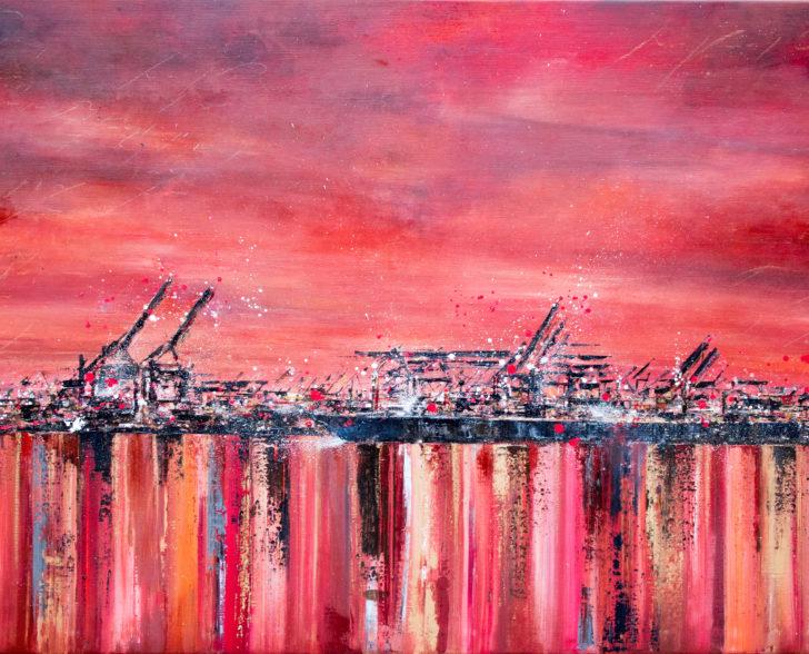 Roter Hafen 120 cm x 80 cm