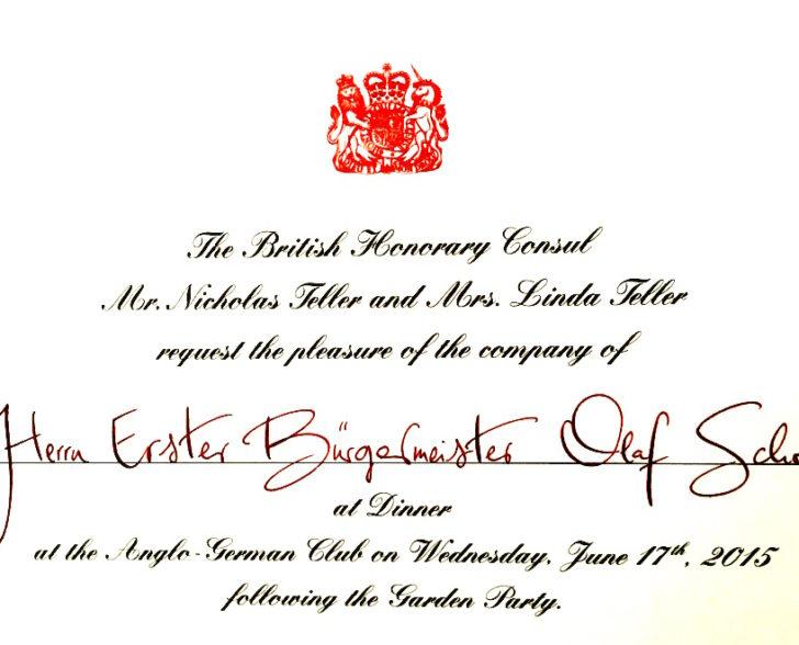 Einladung Britisches Honorarkonsulat