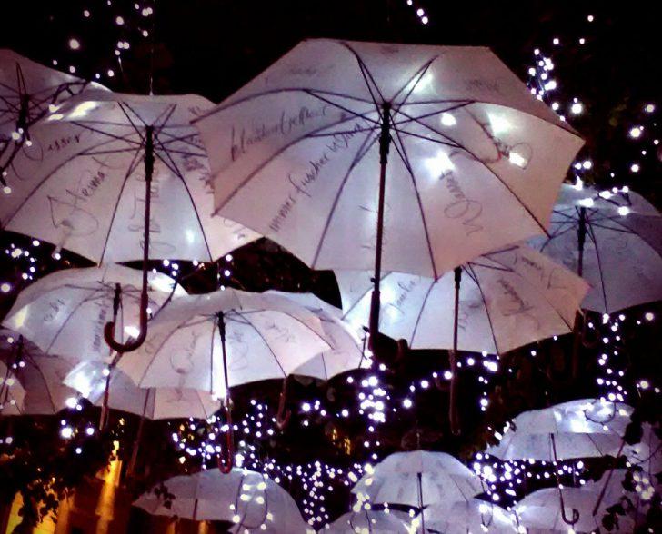 Schirminstallation bei Nacht