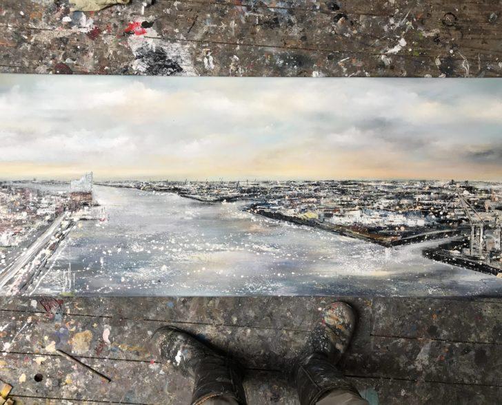 Hafen auf Leinwand ( Elbphilharmonie )