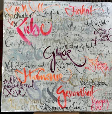 Hochzeits Kalligraphie auf Leinwand