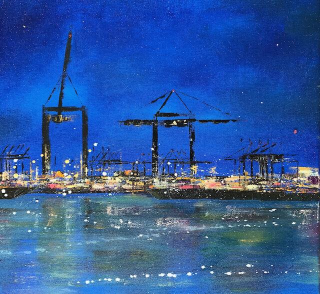 Blaue Stunde 50 cm x 50 cm